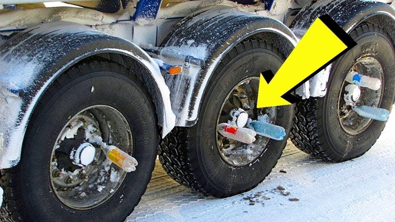 سائقون في روسيا يقومون بتثبيت زجاجات على عجلات الشاحنات ، إليك بعض خدع الروس