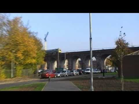 London Midland City Train Crossing Worcester River Severn Railway Bridge & Viaduct 1st November 2010