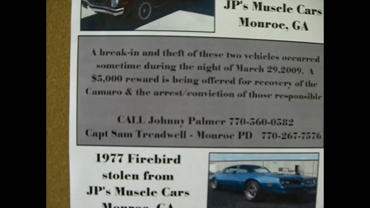 $5000 reward for 1974 Z28 Camaro stolen from JP\'s Muscle Cars in ...