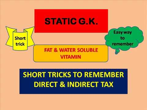 short trick for direct & indirect tax ; fat & water soluble vitamins..