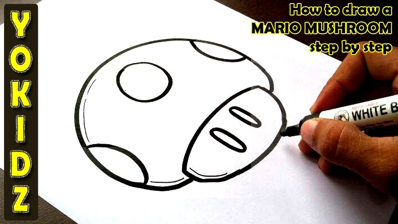 How To Draw A Mario Mushroom Step By Step Youtube