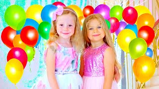 Nastya Diana'nın doğum günü partisine gidiyor, mutlu yıllar videosu