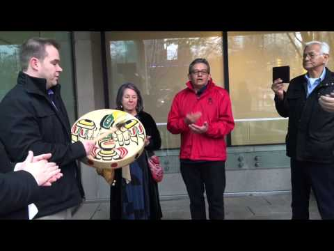 Kwakiutl Song outside Vancouver Court house
