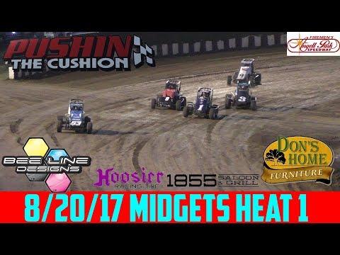 Angell Park Speedway - 8/20/17 - Midgets - Heat 1