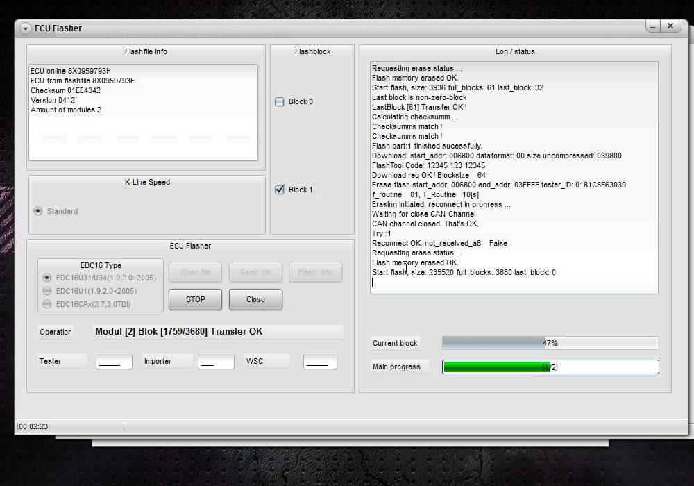 VAG CAN Pro понижение версии программного обеспечения дверного блока в Audi  A1 с версии 8X0 959 79