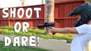 SHOOT OR DARE PAINTBALL GUN CHALLENGE!