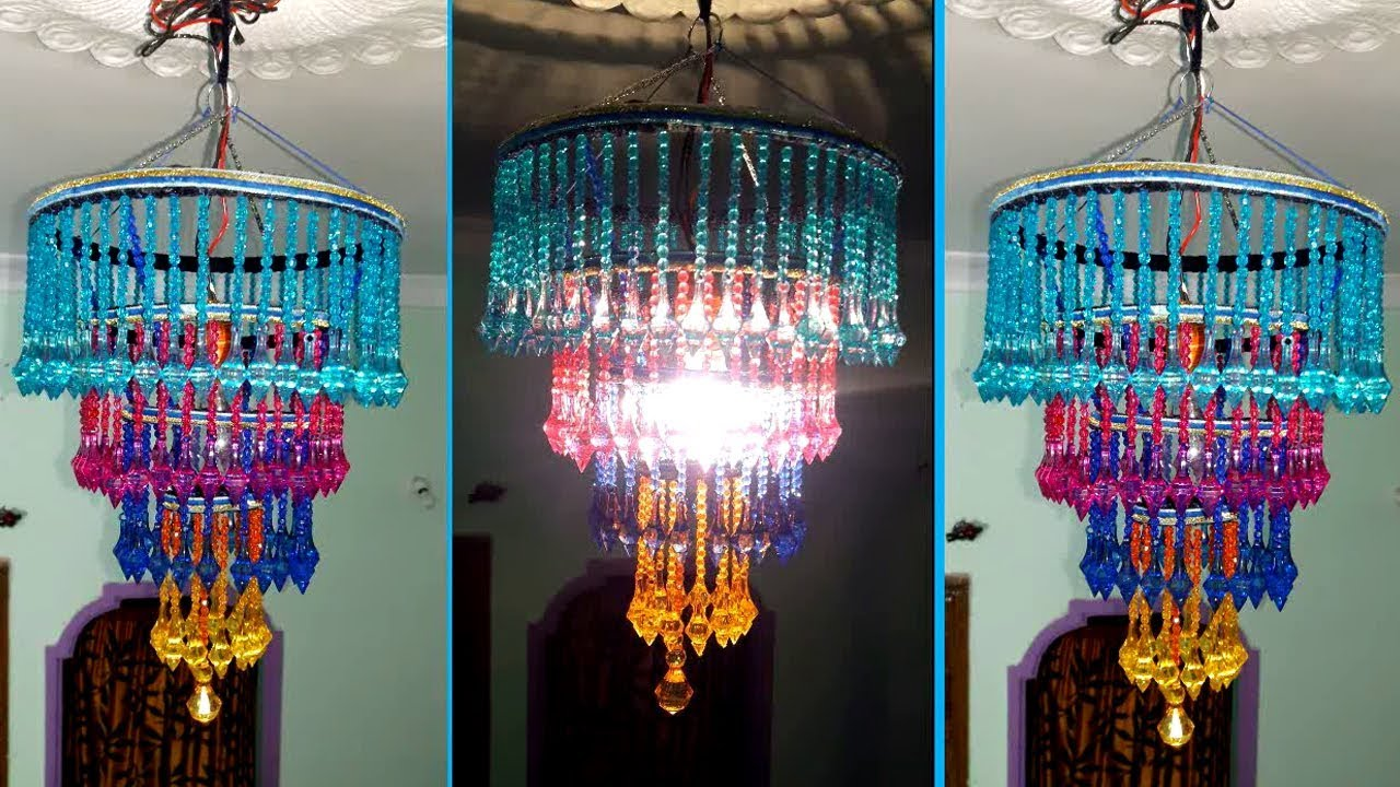 How To Make Jhumar/Chandelier | Wall Hanging Decoration | Beaded ...