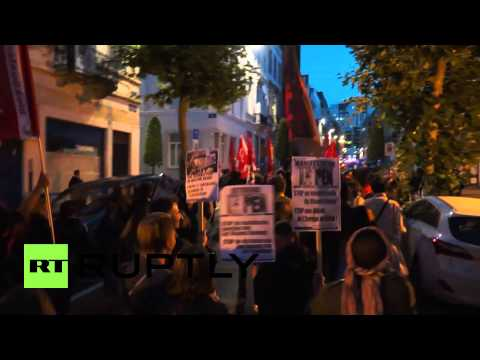 Belgium: Antifa rally against Front National, Vlaams Belang with Le Pen in Brussels