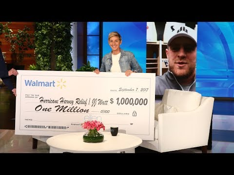 Ellen Surprises Houston Texans Star J.J. Watt With Hurricane Harvey Relief Donation