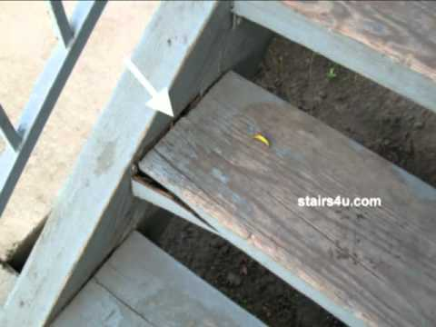 Cracked And Sagging Wood Stair Steps Exterior Stair Repairs | Repairing Outdoor Wooden Steps | Staircase | Patio | Concrete Slab | Front Porch | Stringer