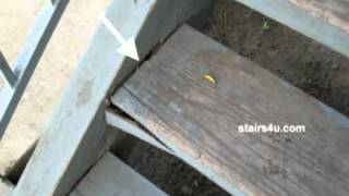 Cracked And Sagging Wood Stair Steps - Exterior Stair Repairs