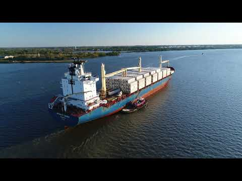 Aerial Drone Video of Cargo Ship Antwerp Trader Delaware River Philadelphia