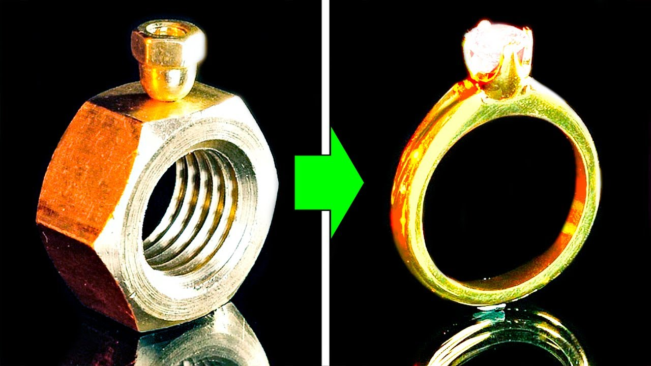 HOW TO MAKE A GOLDEN DIAMOND RING FROM A NUT FOR FREE || 28 DIY JEWELRY IDEAS
