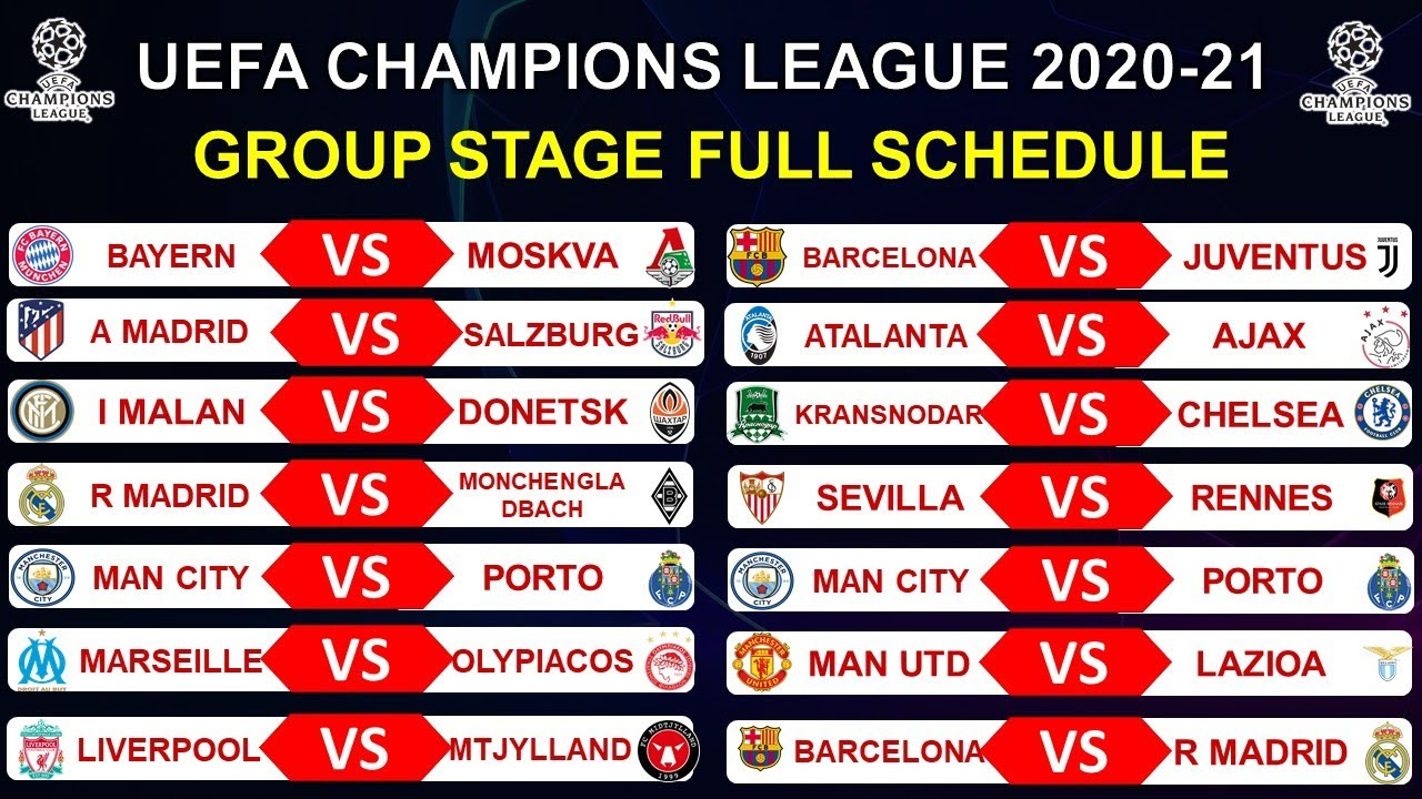 uefa champions league 2020 21 group stage full schedule ucl 2020 21 fixtures youtube uefa champions league 2020 21 group stage full schedule ucl 2020 21 fixtures