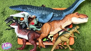 BOX OF DINOSAUR TOYS FOR KIDS: JURASSIC WORLD FALLEN KINGDOM T-REX, CARS, INDORAPTOR, MOSASAURUS