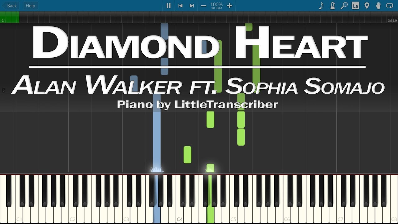 Alan Walker - Diamond Heart (Piano Cover) ft Sophia Somajo Synthesia Tutorial by LittleTranscriber #1