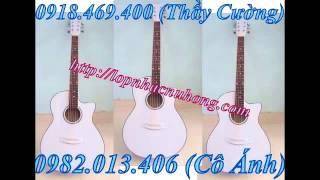 Bán đàn guitar acoustic màu trắng , ban dan guitar eo mau trang , đàn ghita màu trắng