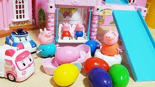 peppa pig Slide house surprise eggs and Robocar Poli toys play