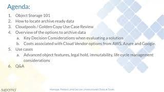 Webinar: How to Leverage Object Storage - Superna Golden Copy - Mar 4, 2021