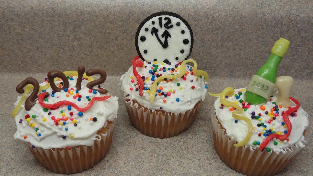 Cupcake Decorating Ideas New Years Eve : Decorating Cupcakes #82: New Year s Eve Trio - YouTube