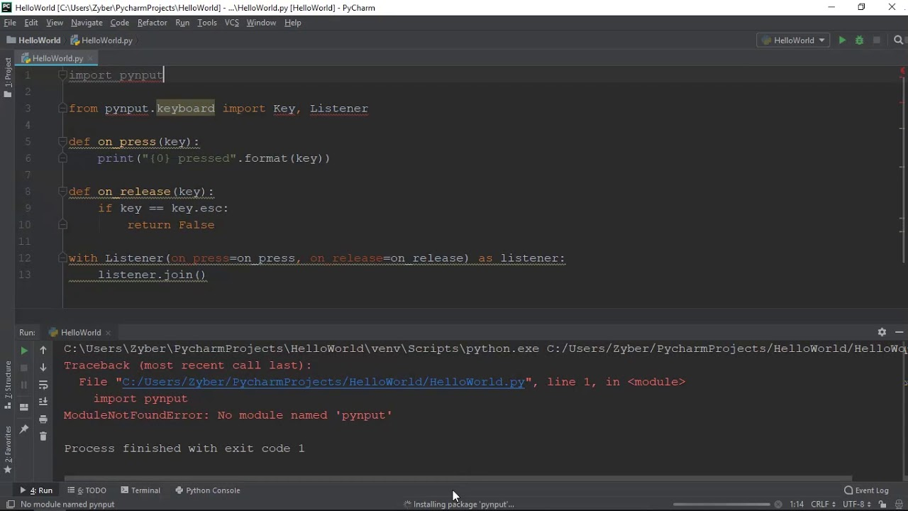 Install Pynput In Pycharm 2018 3