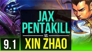 jax vs xin zhao jungle pentakill kda 1536 legendary korea diamond v91