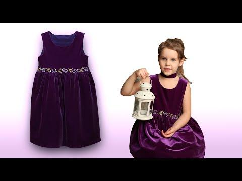 Платье для девочки из бархата своими руками