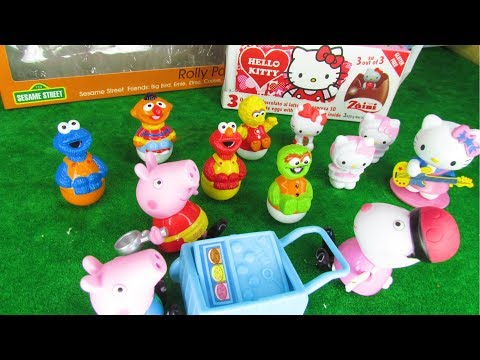 Peppa Pig Blind Bag Open - Hello Kitty Chocolate Surprise Eggs and Seasame Street Set