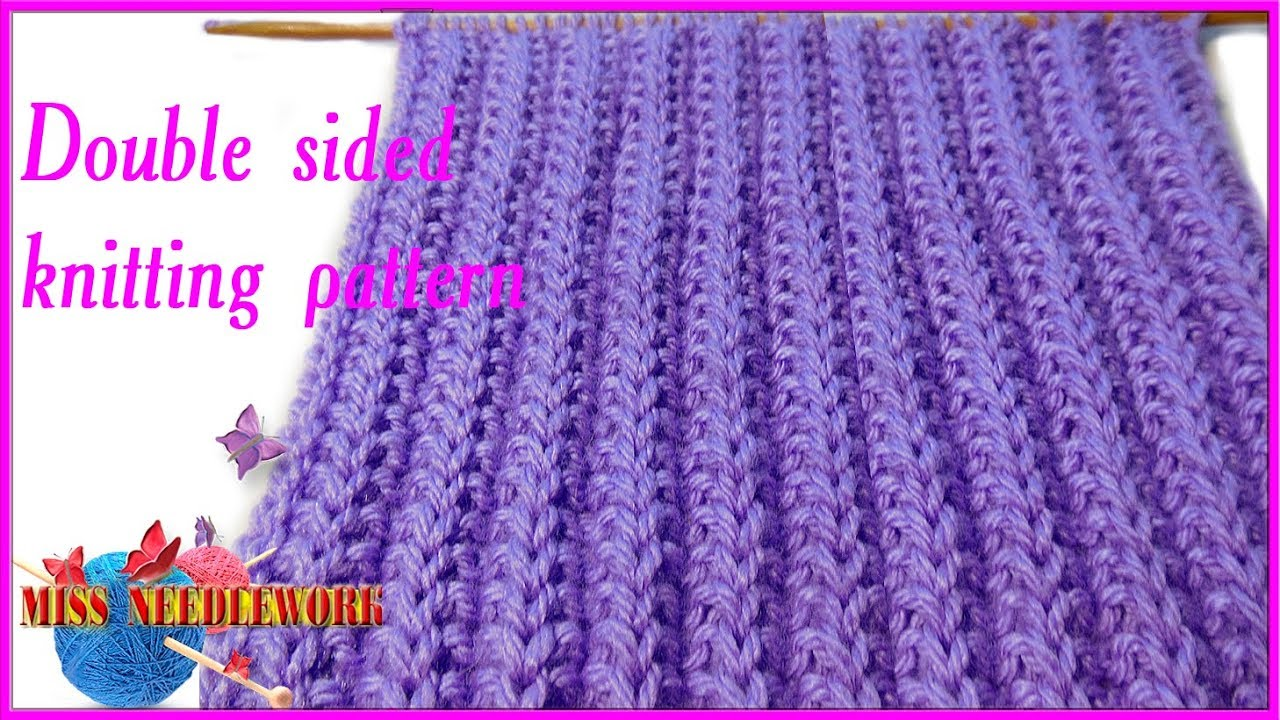 DOUBLE SIDED knitting pattern - YouTube