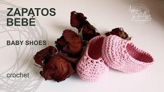 Repeat youtube video Tutorial Zapatos Bebé Crochet o Ganchillo Baby Shoes (English Subtitles)