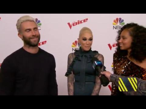 Adam Levine Jokes with Gwen Stefani & Alicia Keys on The Voice Top 10 Red Carpet