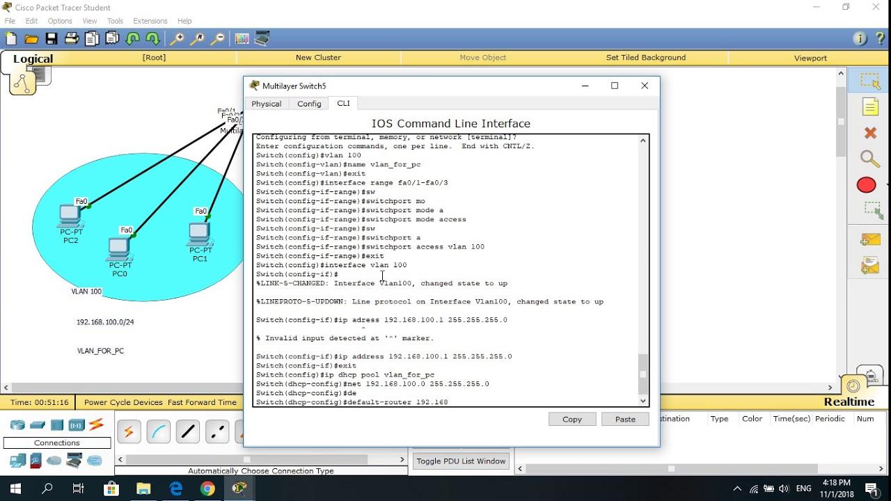 cấu hình vlan và DHCP cấp địa chỉ ip  động 1.1