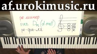 vse.urokimusic.ru Ре минор. Аккорд Dm. d-moll. Первый урок фортепиано. Мастер класс по фортепиано