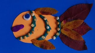 Аппликация Рыбка из картона и листьев. Осенние поделки из природного материала в детский сад.