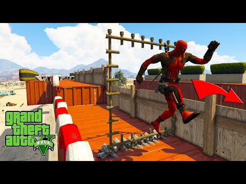 Four Superheroes running parkour Deadpool Spider girl Gwen Blade and Star Lord  