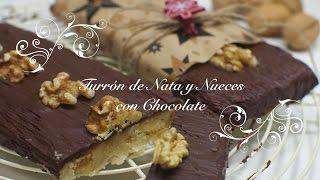 Turron de nata con nueces y chocolate - turron de navidad facil