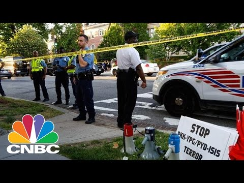 Nine Injured In Protest Outside Turkish Embassy In Washington DC   CNBC