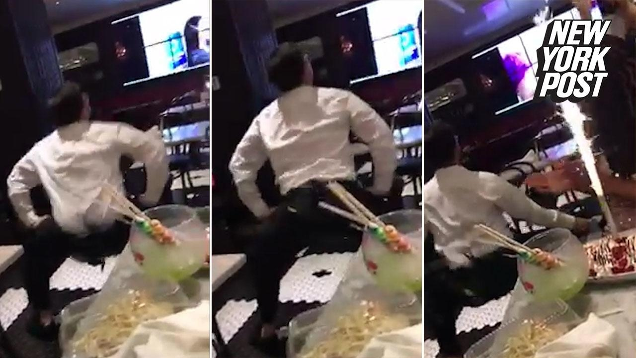 Twerking Waiter Adds A Little Sparkle To This Ladys Birthday