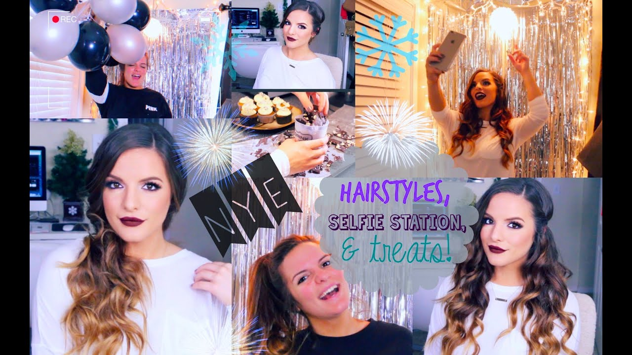 3 EASY Hairstyles for New Years Eve & DIY Selfie Station & Treats