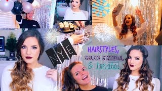 3 EASY Hairstyles for New Years Eve & DIY Selfie Station & Treats! | Casey Holmes