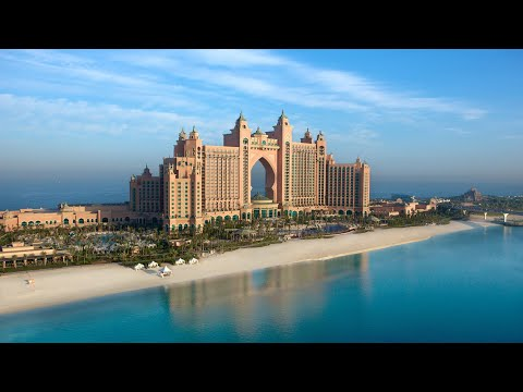 Dubai 2018: 7* ATLANTIS THE PALM HOTEL: FULL TOUR: Room, hallway, elevator, shops and aquarium