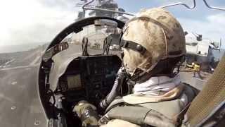 Вид Из Кабины Штурмовика Av-8b Harrier Ii / Взлет И Вертикальная Посадка