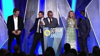 Jordan Peele and team winning the Audience Award for GET OUT at the 2017 IFP Gotham Awards