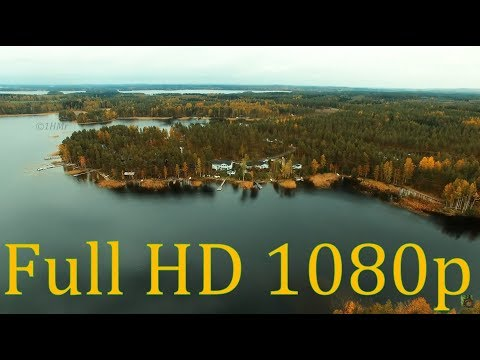 Autumn   brilliance Full HD 1080p flyight above Finland lake region