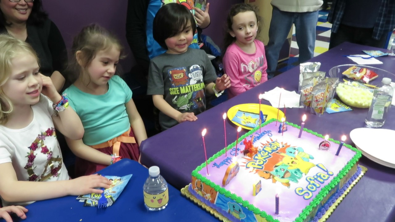 Pokemon Happy 6th Birthday Cake With Sparkle Candles Then Adorable Kids Sing MVI 4790