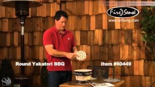 Fire Sense Yakatori Round Ceramic Tabletop Bbq