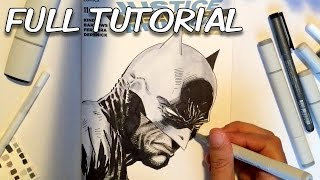 How to draw BATMAN with COPIC MARKERS -Full Tutorial