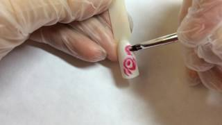 Дизайн ногтей розы 🌹 акриловые краски🎨