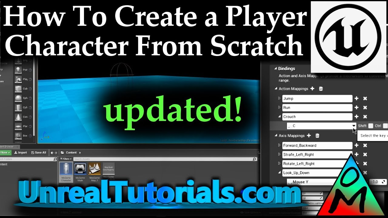 UE4 Tutorial | Create Movable Player Character From Scratch (Blueprints)