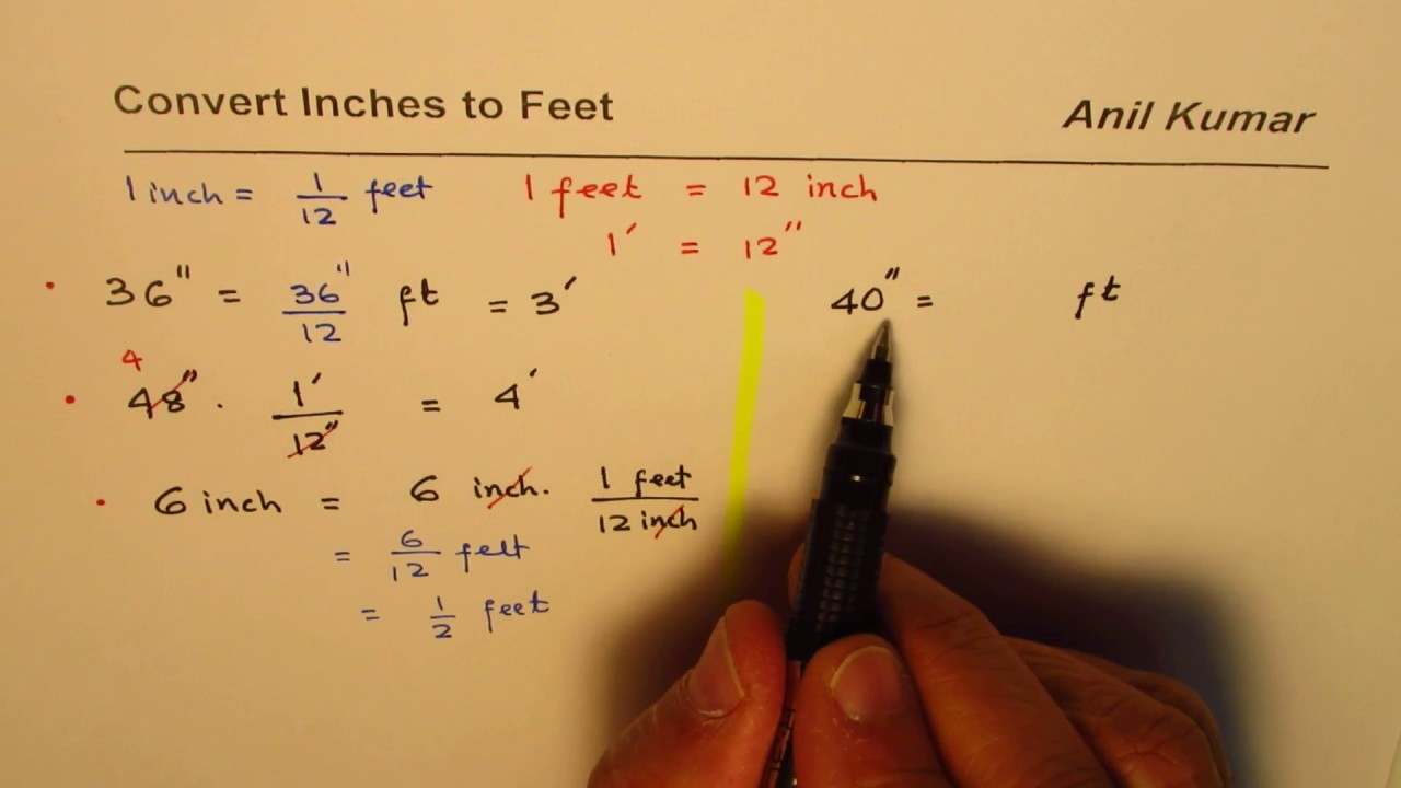 How To Convert Inch To Feet Youtube